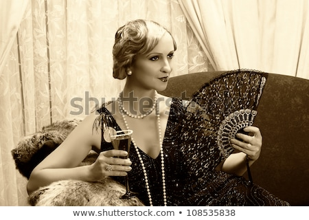 Stock photo: classy blonde in lace dress