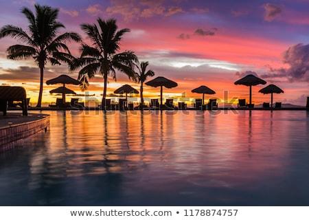 Fidzsi-szigetek naplemente korall part népszerű turista Stock fotó © jeayesy