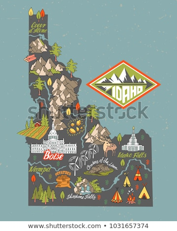 Cartoon Skyline silhouette ville Idaho USA Photo stock © blamb