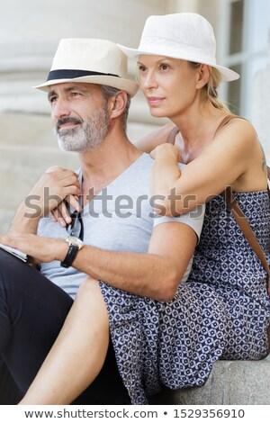 Couple étapes femme internet homme portable Photo stock © photography33