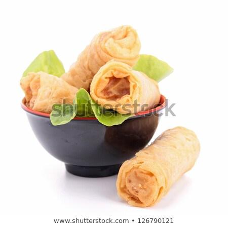 kínai · étel · tál · zöld · tyúk · vacsora - stock fotó © m-studio