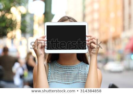 Photo stock: Belle · fille · cacher · visage · touch · souriant · caméra