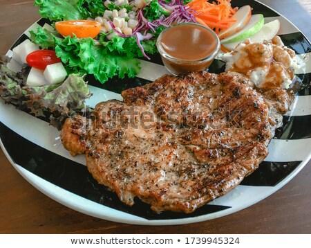 disznóhús · kotlett · háttér · hús · ebéd · zöldség - stock fotó © m-studio