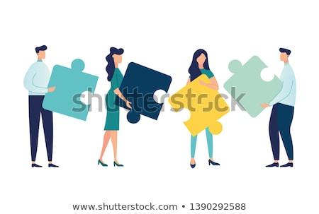 vettore · puzzle · lavoro · di · squadra · illustrazione · giallo · blu - foto d'archivio © orson