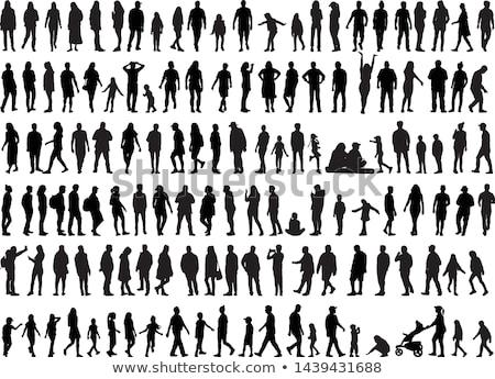 Stockfoto: Fitness · silhouetten · ingesteld · meisje · lichaam · gezondheid