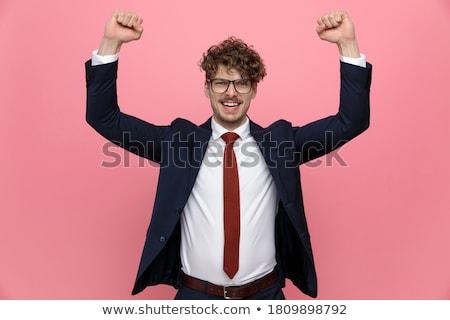 ダイナミック ビジネスマン 肖像 楽しい ブリーフケース ジャンプ ストックフォト © pressmaster