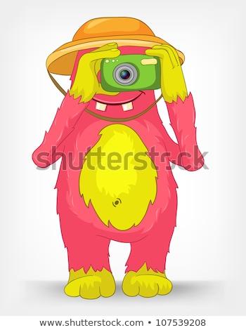 Vicces szörny fotós rajzfilmfigura izolált szürke Stock fotó © RAStudio
