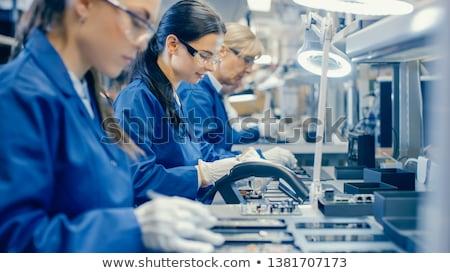 nő · elektronikus · technológia · elragadtatott · tart · merevlemez - stock fotó © smithore