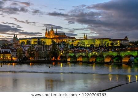 Prague  landscape with Vltava and Grad Stock photo © cherju