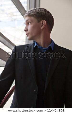 бизнесмен смотрят окна удивляться погода бизнеса Сток-фото © vetdoctor