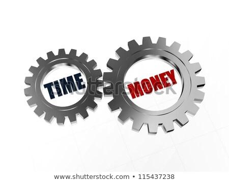 Az idő pénz ezüst szöveg idő pénz szavak Stock fotó © marinini