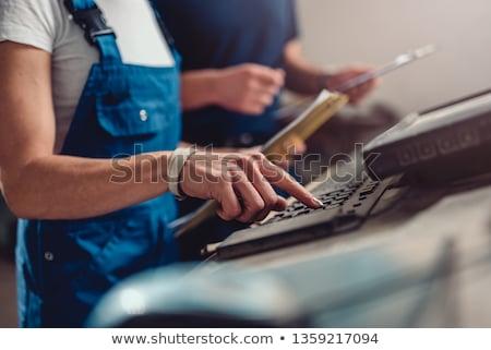 Számítógép férfi boldog laptop doboz kék Stock fotó © photography33