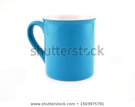 mavi · seramik · fincan · fincan · tabağı · yalıtılmış · beyaz - stok fotoğraf © ozaiachin