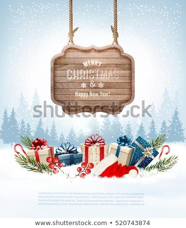 wooden sign in winter stock photo © mythja