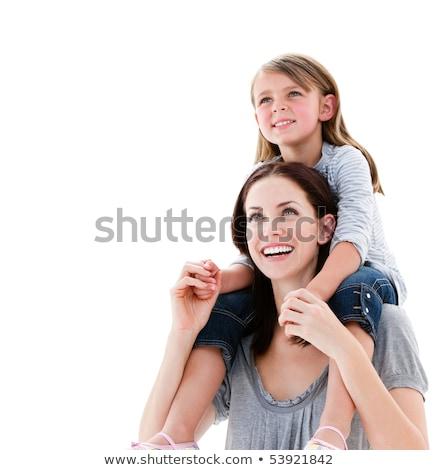 Lelkes anya lánygyermek háton gyerekek boldog Stock fotó © wavebreak_media