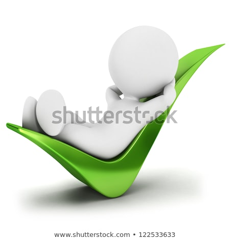 Stock photo: 3d white people relaxed on a check mark