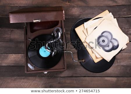 klasszikus · gramofon · lemezjátszó · virágmintás · dísz · gyönyörű - stock fotó © artush