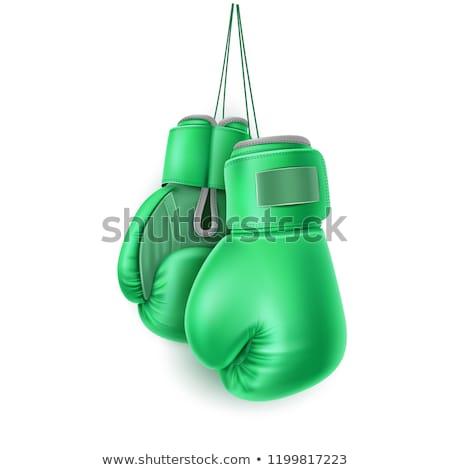 Zielone rękawica bokserska zdrowia sportowe siłowni polu Zdjęcia stock © ozaiachin