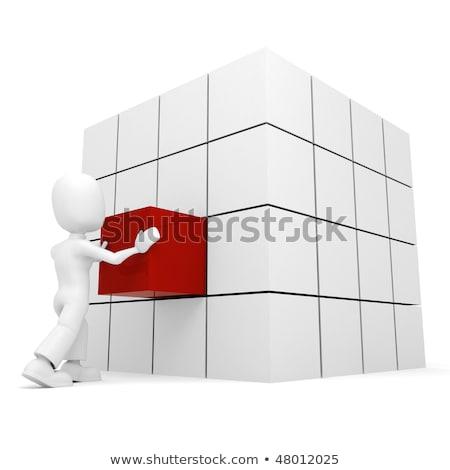 Mężczyzna 3d popychanie kostki miejsce działalności strony Zdjęcia stock © digitalgenetics