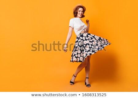 Lenyűgöző hölgy cipők barna hajú szexi divat Stock fotó © konradbak