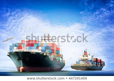 Nave bianco rosso petroliera copia spazio cielo blu Foto d'archivio © Forgiss