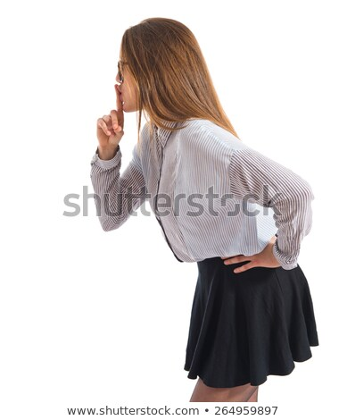 teenage girl making silence gesture on white  Stock photo © goce