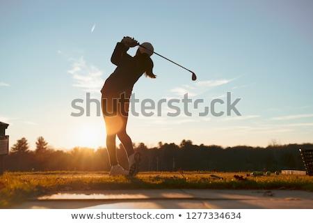 golfer · golfclubs · glimlachend · man · landschap - stockfoto © lightsource