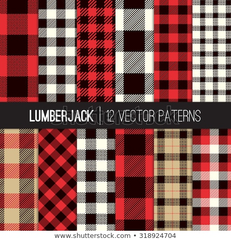 seamless gingham checked patterns of winter colors with fabric texture stock photo © ratselmeister