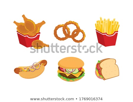Burger frites oignon anneaux cartoon Photo stock © cteconsulting