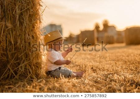 Küçük kız oturma çim aile hayatı kız bebek Stok fotoğraf © dacasdo