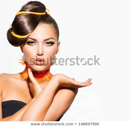 fashion girl portrait eyeshadow makeup hairstyle isolated on stock photo © victoria_andreas