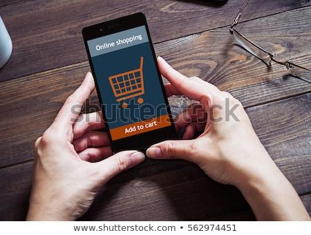 электронной коммерции икона деловой человек прикасаться экране бизнеса Сток-фото © matteobragaglio