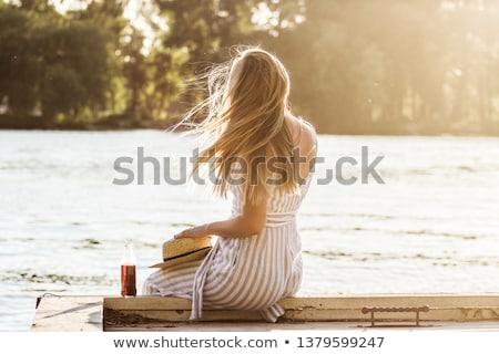 小さな ブロンド 少女 座って ドック かなり ストックフォト © rhamm