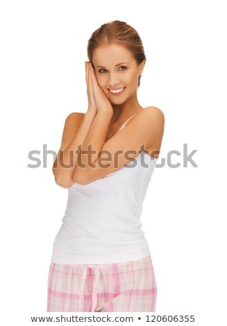 女性 綿 パジャマ 寝 ジェスチャー ストックフォト © dolgachov