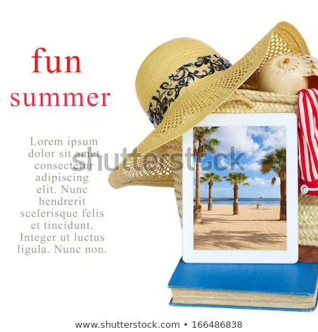 sunbathing accessories in basket with tablet Stock photo © neirfy