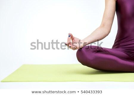 Donna seduta Lotus posa bella felice Foto d'archivio © phakimata