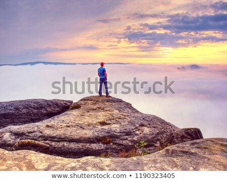 casual man from mountains looks away with hand in pocket stock photo © feedough
