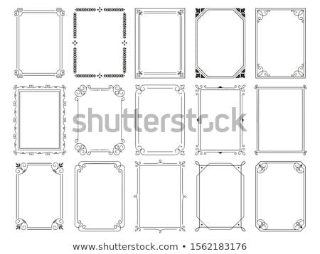 Fekete keret díszítő keret fehér absztrakt Stock fotó © zybr78