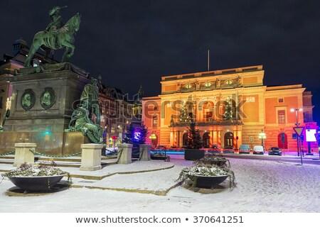 Stockholm · kraliyet · opera · akşam · İsveç - stok fotoğraf © anshar