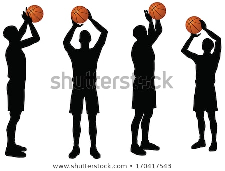 basketball players silhouette collection in free throw position stock photo © istanbul2009