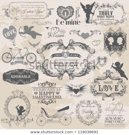 establecer · boda · banners · ornamento · ilustración - foto stock © carodi