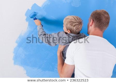 Vader schilderij muur kinderen home ruw Stockfoto © Kzenon