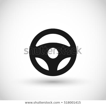 coche · volante · icono · blanco · diseno · velocidad - foto stock © myfh88