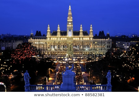 Christmas market in front of city hall of Vienna, Austria Stock photo © phbcz