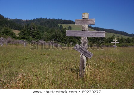 old crosses at the historic orthodox cemetery of Fort Ross Stock photo © meinzahn