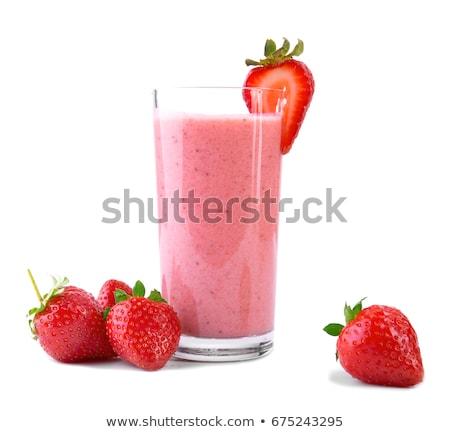 fraise · smoothie · isolé · vert · alimentaire · santé - photo stock © m-studio