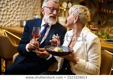 Alkoholos ital pár szemüveg fotó kristály üveg Stock fotó © junpinzon