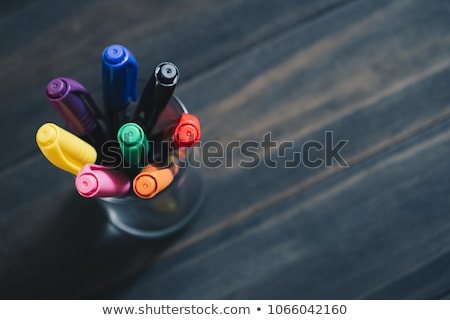 Overhead View Of Multi Colored Pencils Stock photo © HighwayStarz