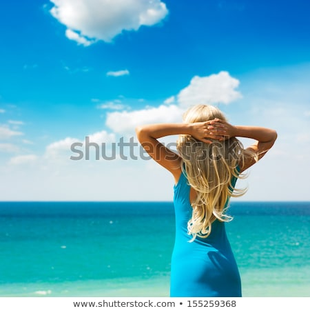 Beautiful slender woman with turquoise hair Stock photo © stryjek