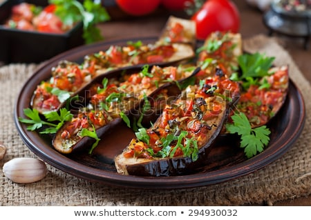 Eggplant food with tomato and pepper Stock photo © dariazu